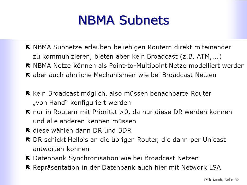 NBMA Subnets NBMA Subnetze erlauben beliebigen Routern direkt miteinander zu kommunizieren, bieten aber kein Broadcast (z.B. ATM,...)