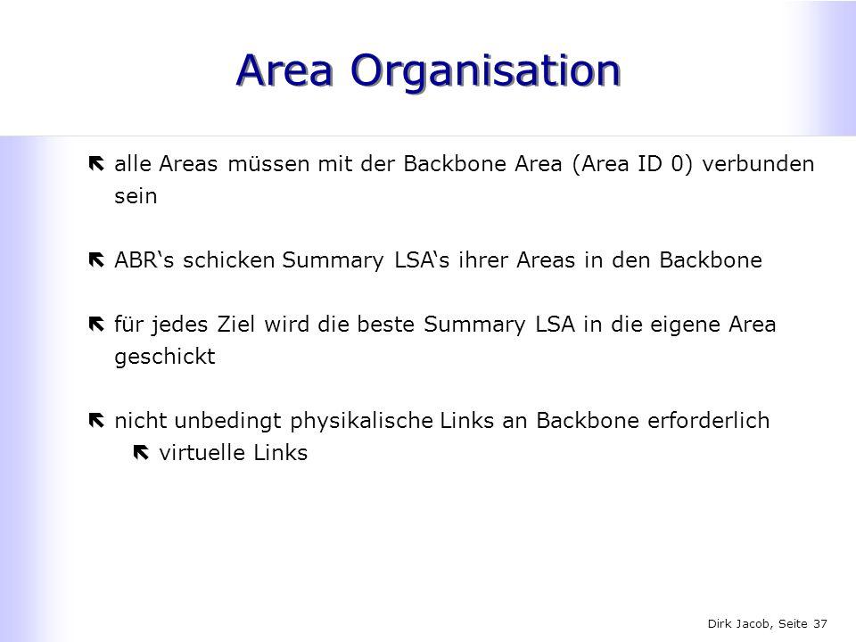 Area Organisation alle Areas müssen mit der Backbone Area (Area ID 0) verbunden sein. ABR's schicken Summary LSA's ihrer Areas in den Backbone.