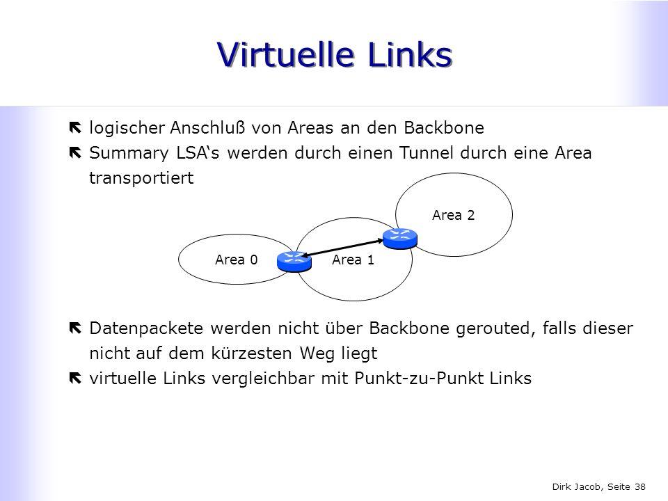 Virtuelle Links logischer Anschluß von Areas an den Backbone