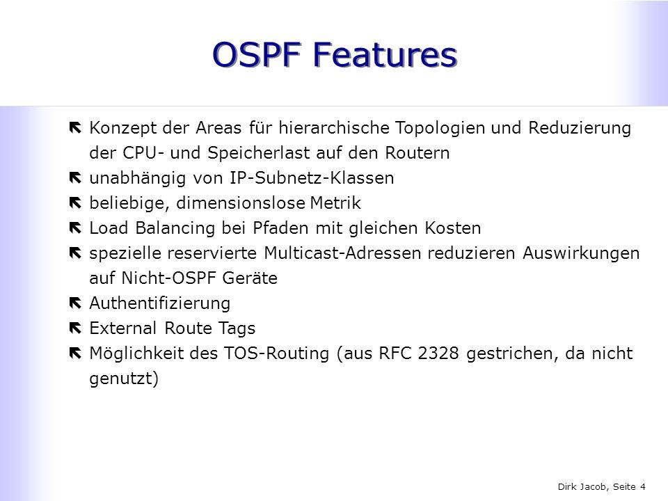 OSPF Features Konzept der Areas für hierarchische Topologien und Reduzierung der CPU- und Speicherlast auf den Routern.
