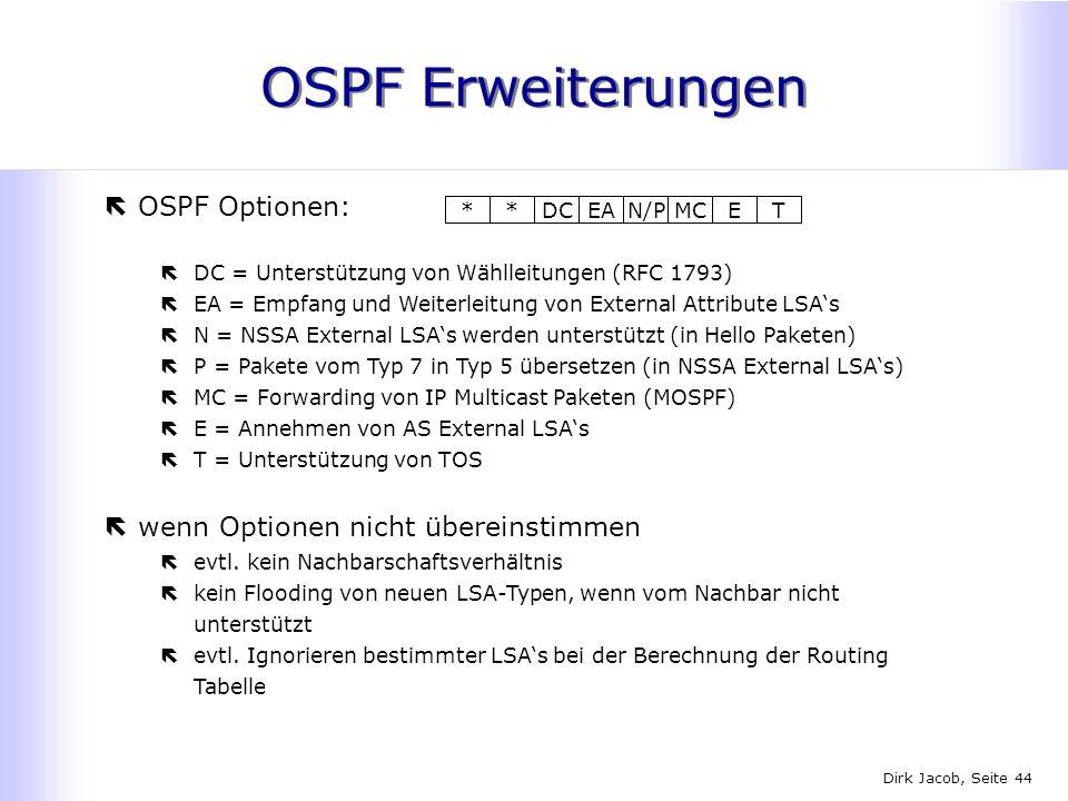 OSPF Erweiterungen OSPF Optionen: wenn Optionen nicht übereinstimmen