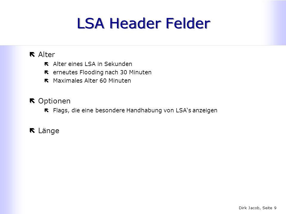 LSA Header Felder Alter Optionen Länge Alter eines LSA in Sekunden