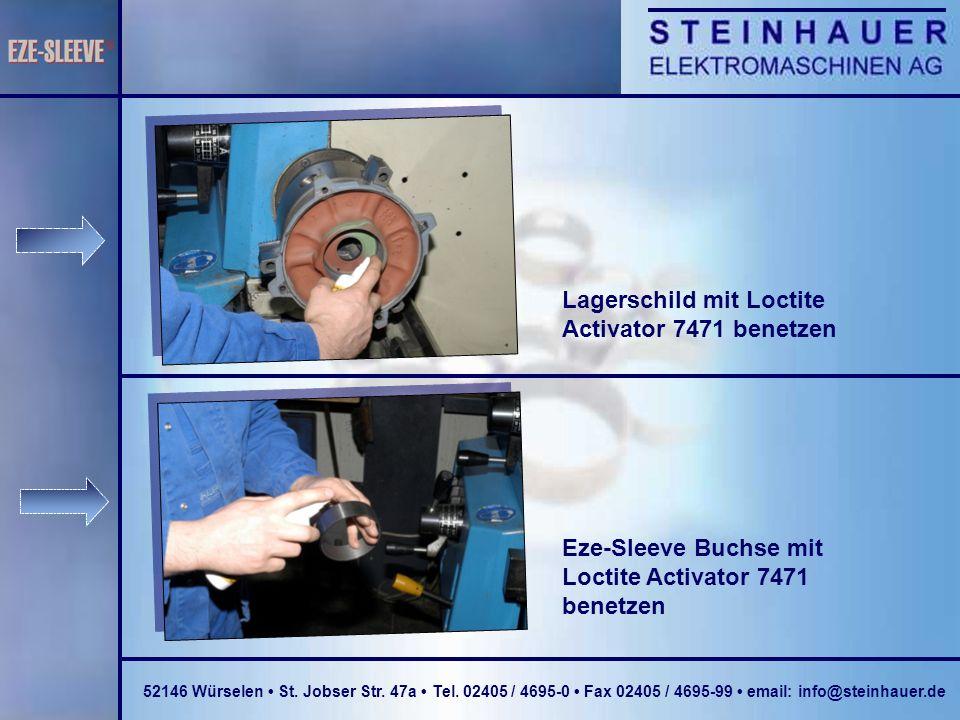 Lagerschild mit Loctite Activator 7471 benetzen