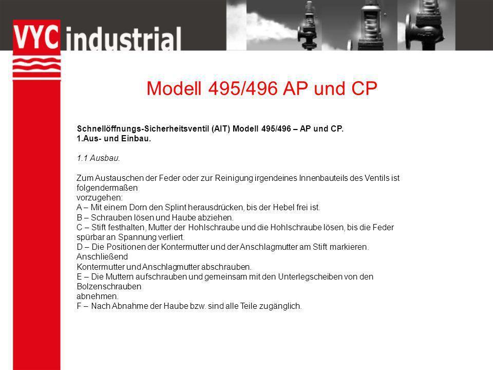 Modell 495/496 AP und CP Schnellöffnungs-Sicherheitsventil (AIT) Modell 495/496 – AP und CP. 1.Aus- und Einbau.