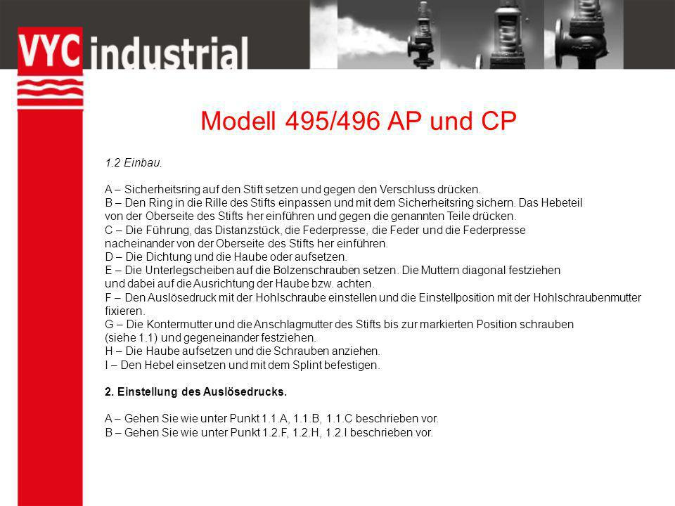 Modell 495/496 AP und CP 1.2 Einbau.