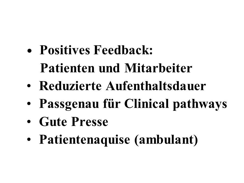Patienten und Mitarbeiter Reduzierte Aufenthaltsdauer