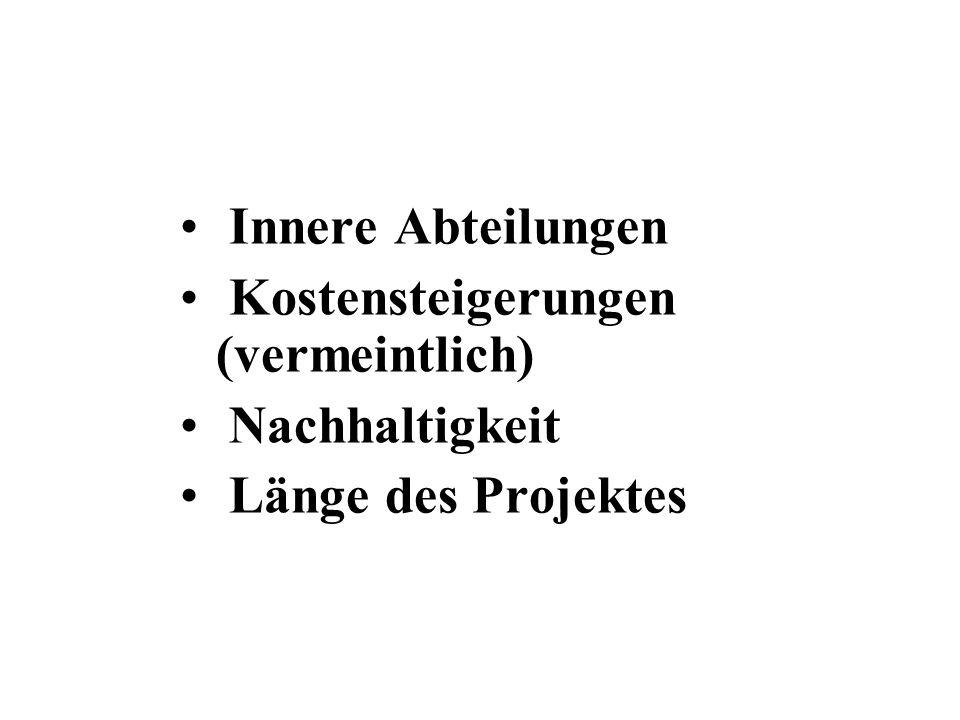 Innere Abteilungen Kostensteigerungen (vermeintlich) Nachhaltigkeit Länge des Projektes