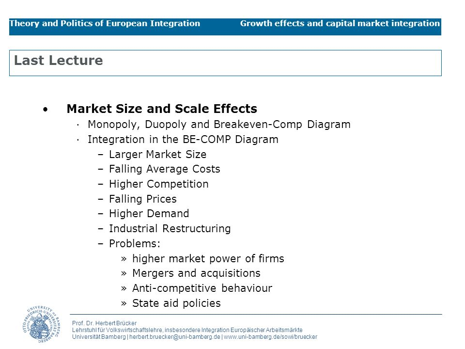 Last Lecture Market Size and Scale Effects