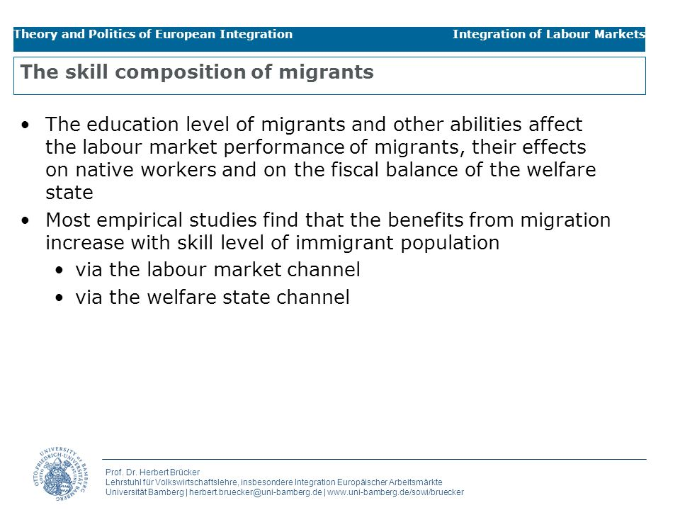 The skill composition of migrants