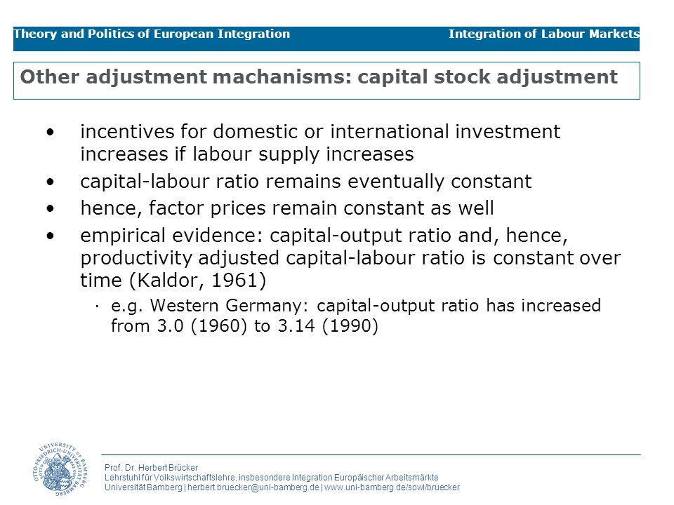 Other adjustment machanisms: capital stock adjustment
