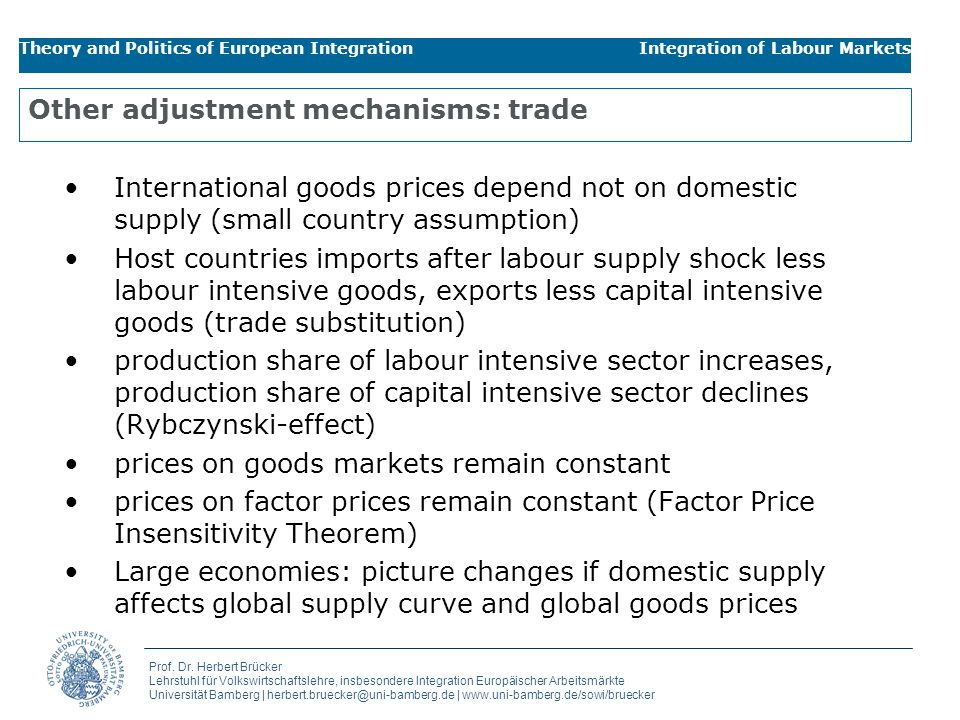 Other adjustment mechanisms: trade