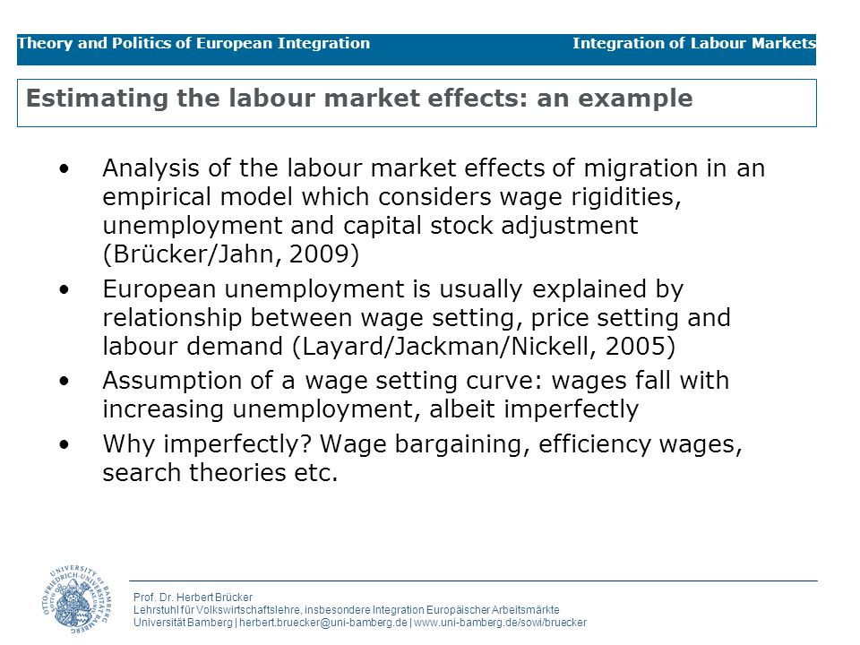 Estimating the labour market effects: an example