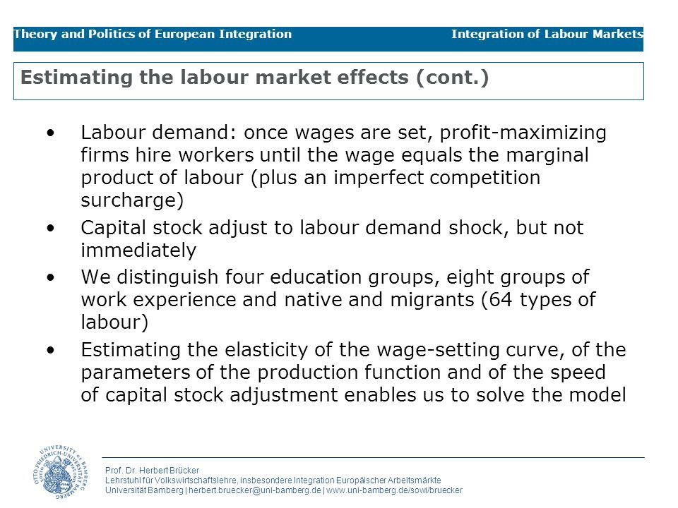 Estimating the labour market effects (cont.)
