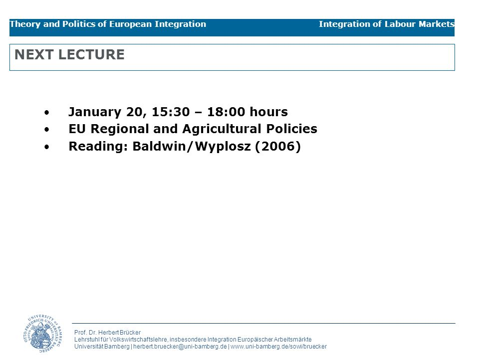 NEXT LECTURE January 20, 15:30 – 18:00 hours