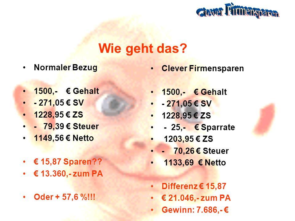 Wie geht das Normaler Bezug Clever Firmensparen 1500,- € Gehalt