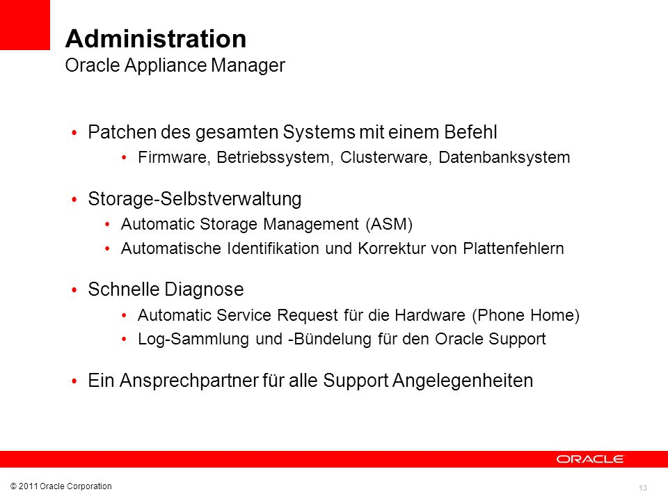 Administration Oracle Appliance Manager