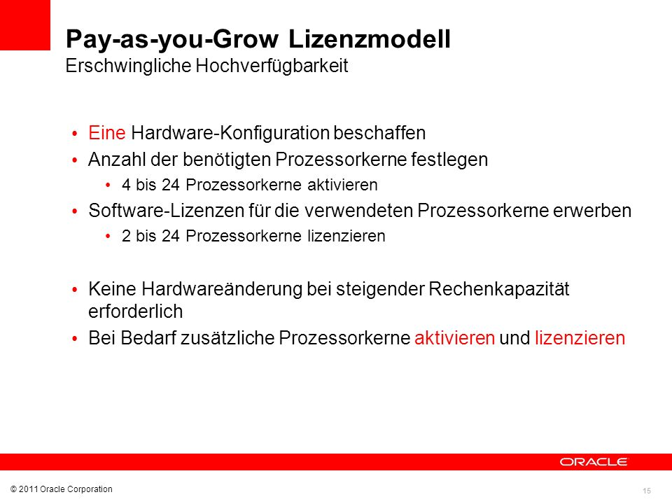 Pay-as-you-Grow Lizenzmodell