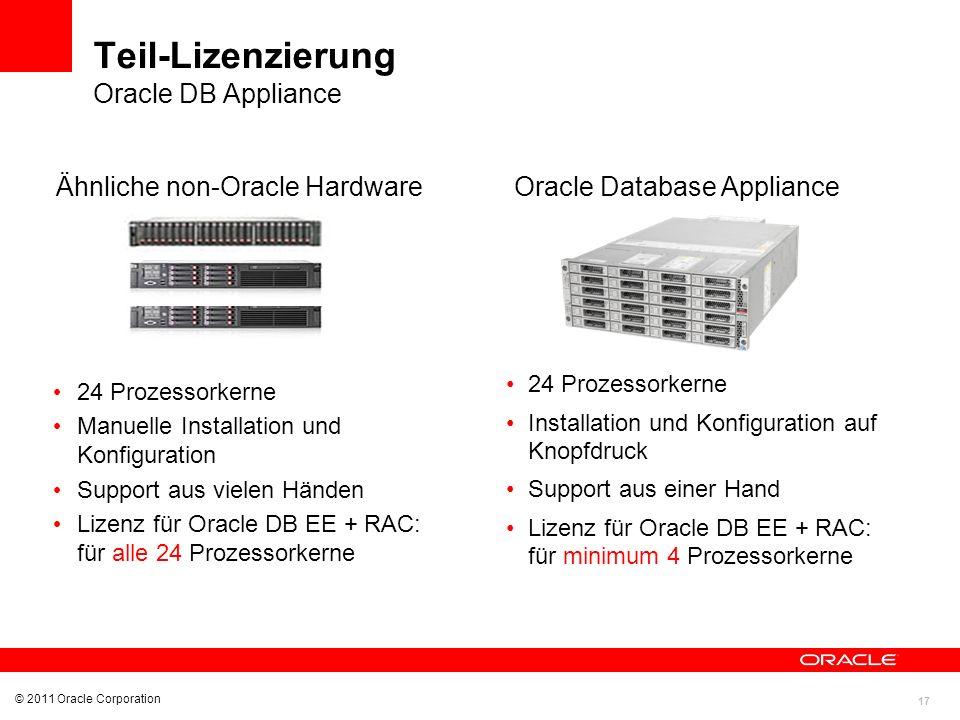 Teil-Lizenzierung Oracle DB Appliance Ähnliche non-Oracle Hardware
