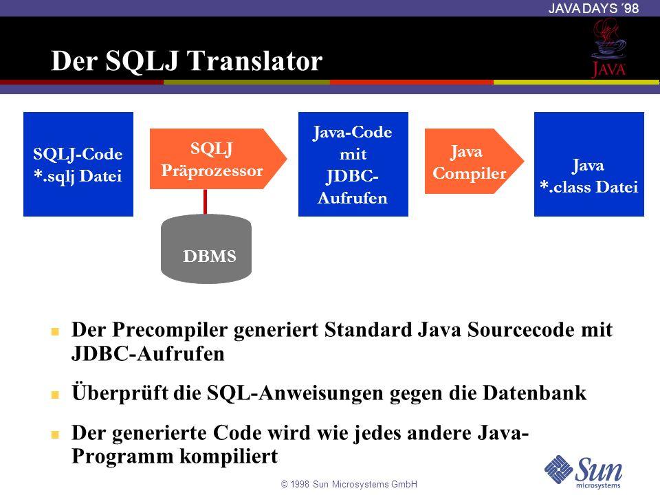 Der SQLJ Translator SQLJ-Code. *.sqlj Datei. Java-Code. mit. JDBC- Aufrufen. Java. *.class Datei.