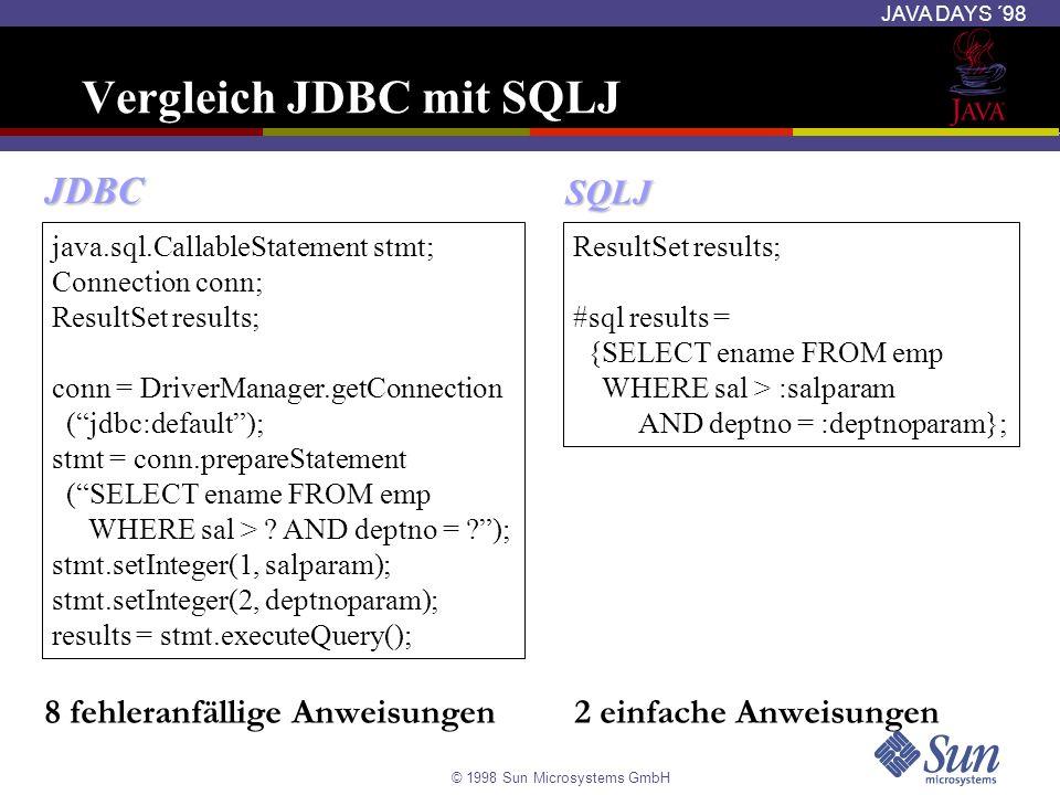 Vergleich JDBC mit SQLJ