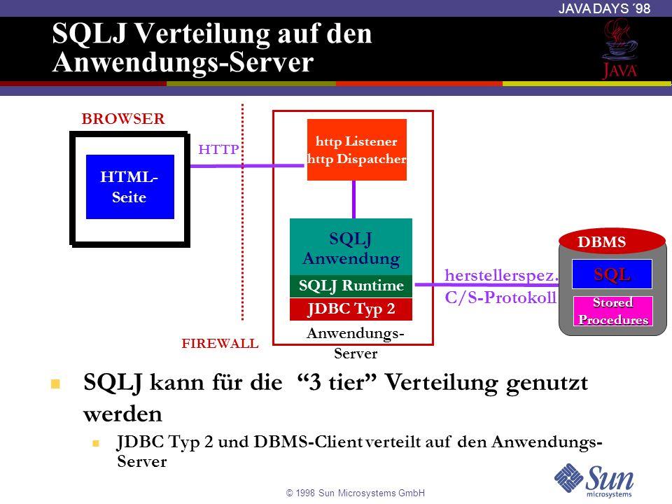 SQLJ Verteilung auf den Anwendungs-Server