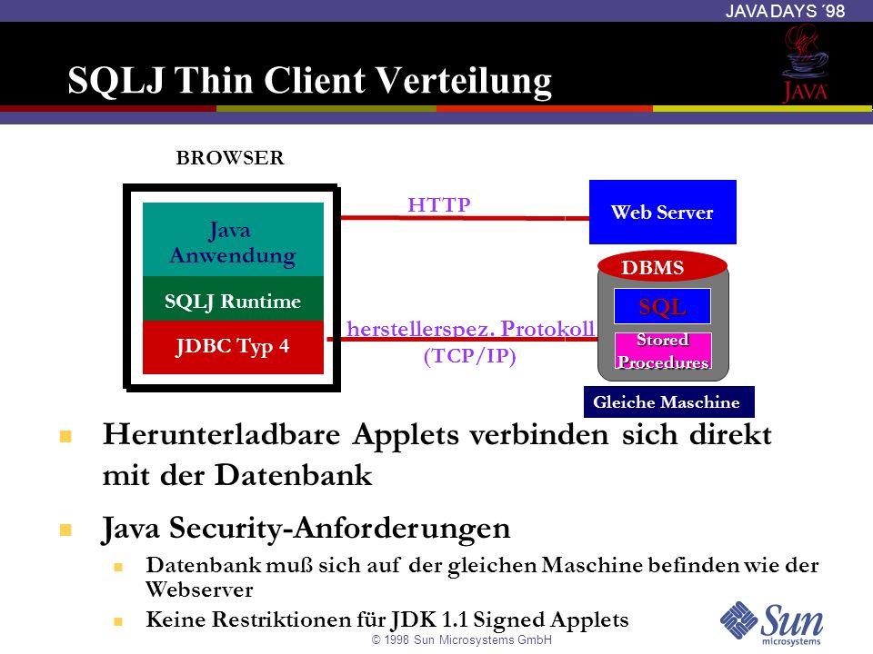 SQLJ Thin Client Verteilung