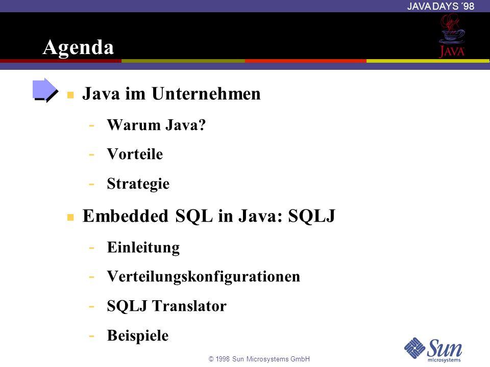 Agenda Java im Unternehmen Embedded SQL in Java: SQLJ Warum Java