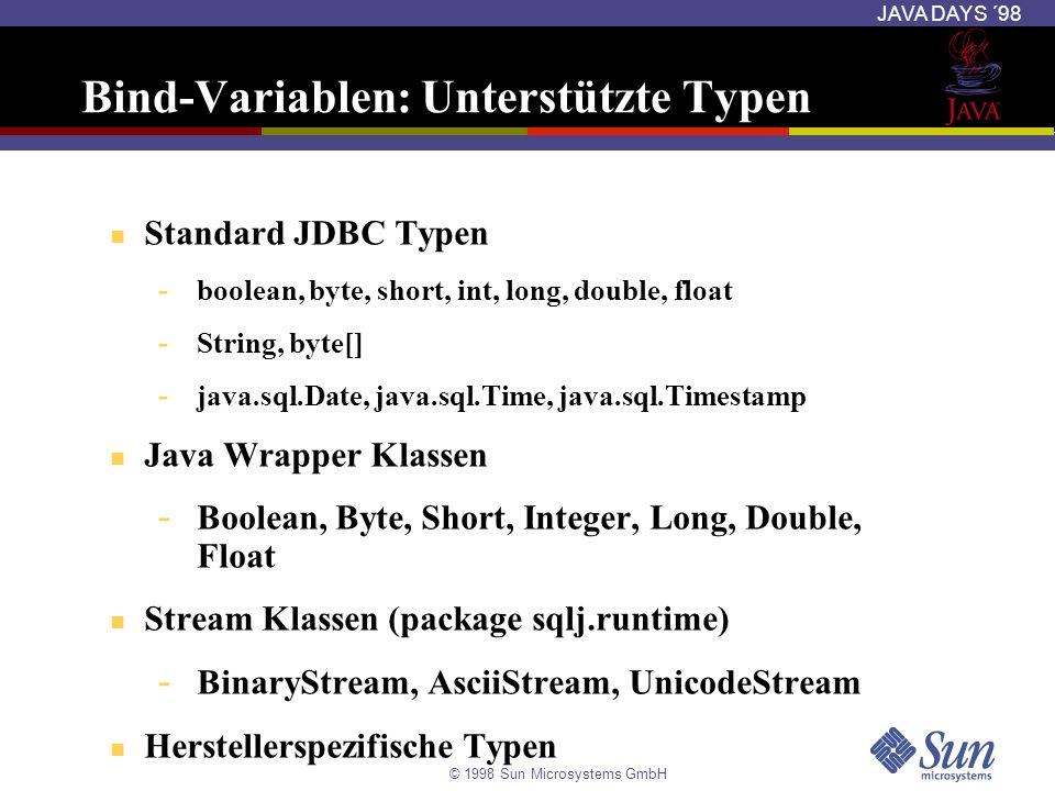 Bind-Variablen: Unterstützte Typen