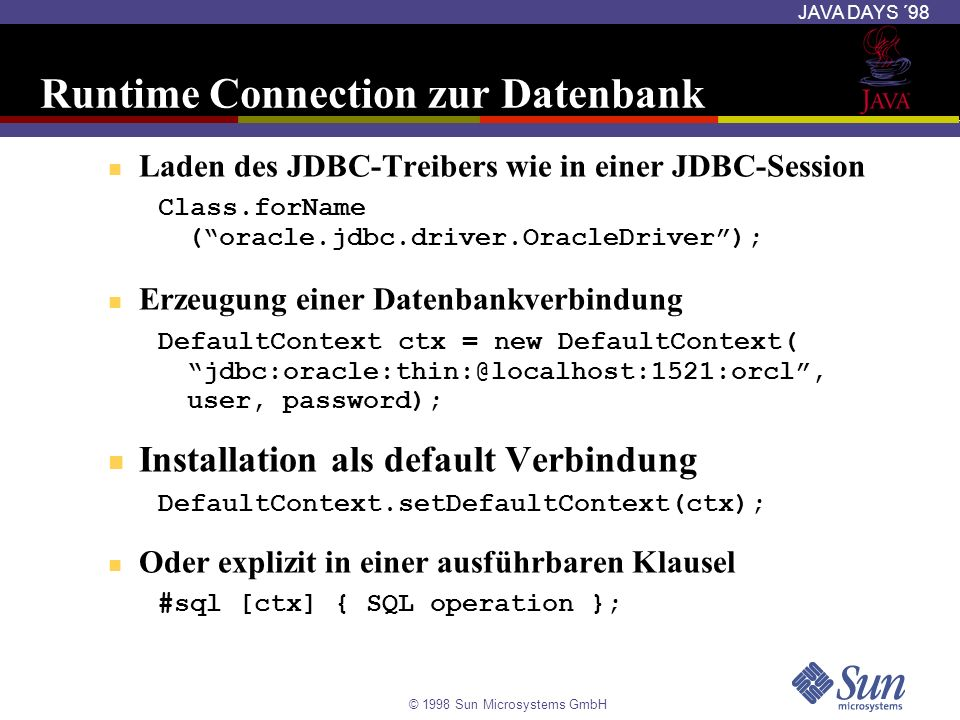 Runtime Connection zur Datenbank
