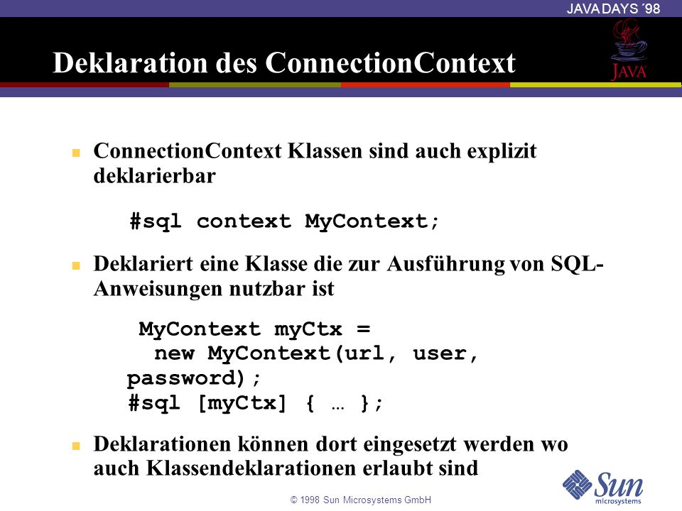 Deklaration des ConnectionContext