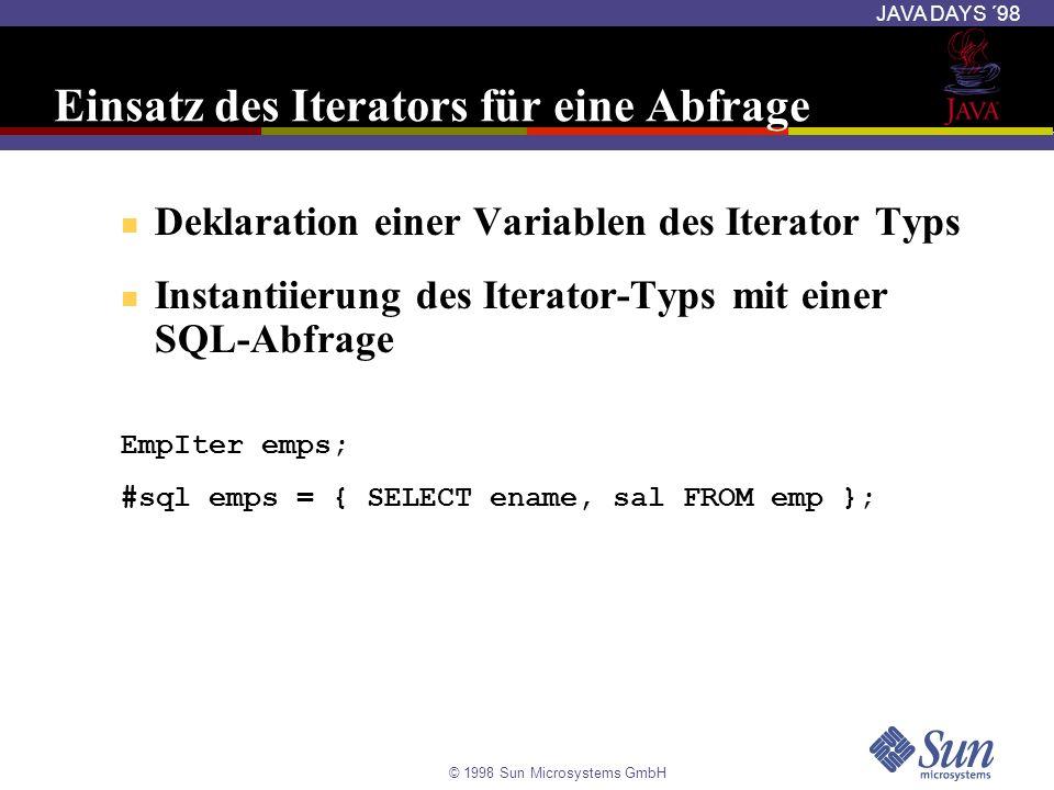 Einsatz des Iterators für eine Abfrage