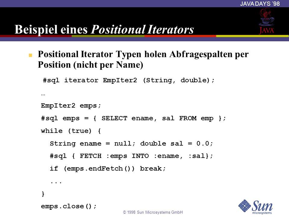Beispiel eines Positional Iterators