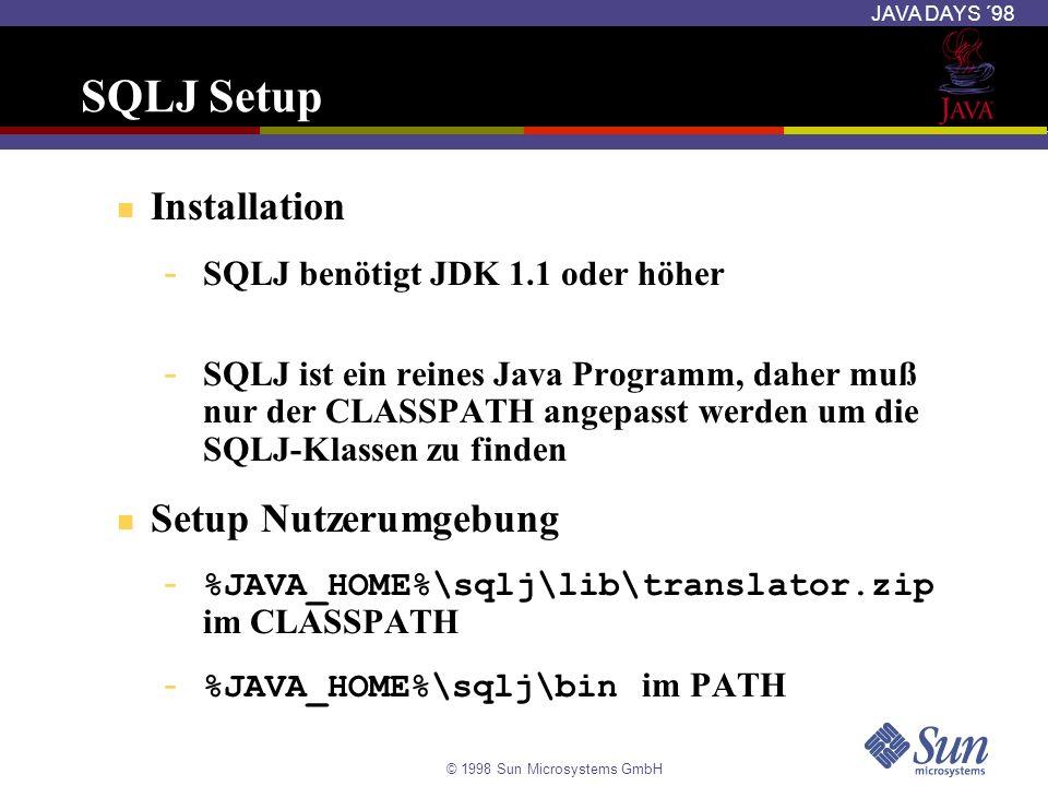 SQLJ Setup Installation Setup Nutzerumgebung