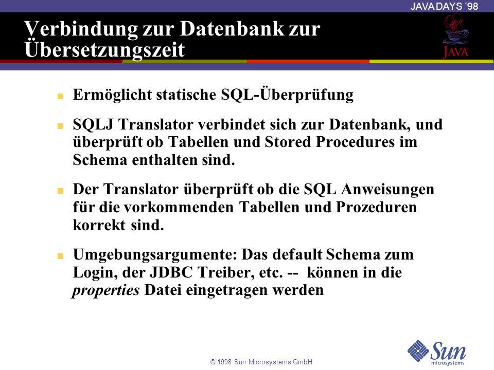 Verbindung zur Datenbank zur Übersetzungszeit