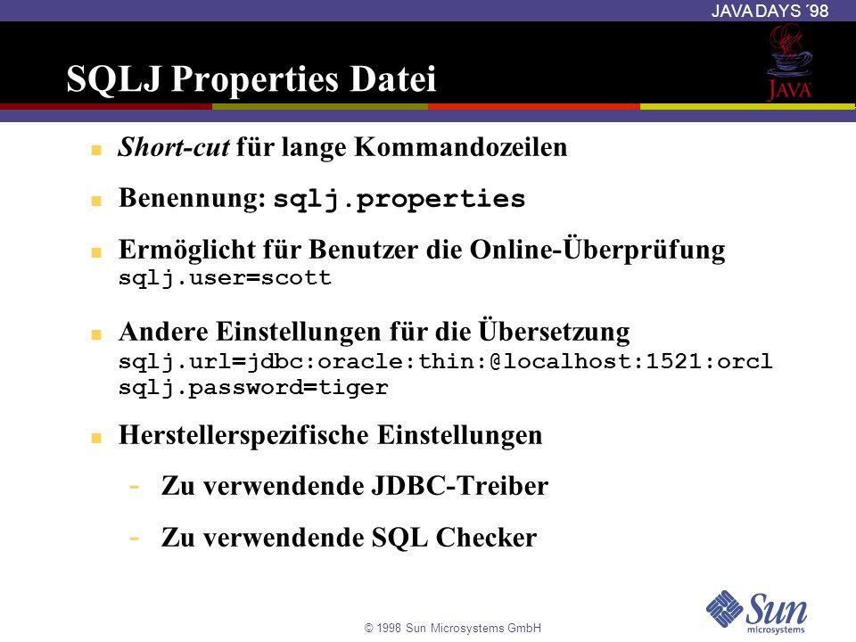 SQLJ Properties Datei Short-cut für lange Kommandozeilen