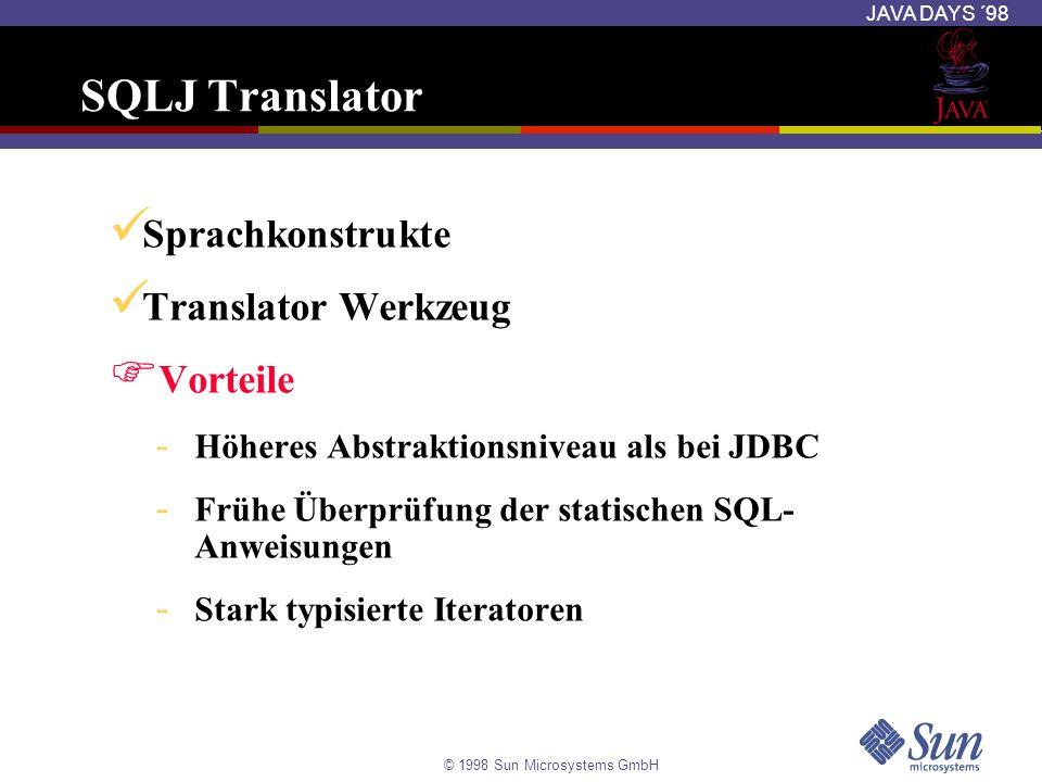 SQLJ Translator Sprachkonstrukte Translator Werkzeug Vorteile