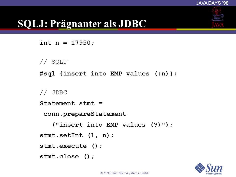SQLJ: Prägnanter als JDBC