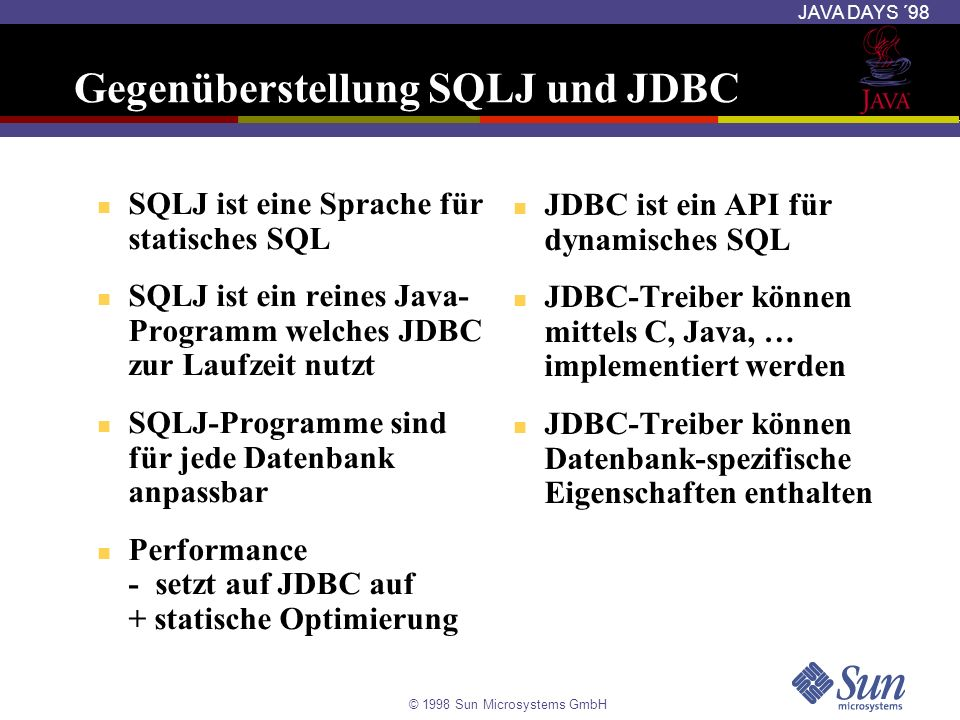 Gegenüberstellung SQLJ und JDBC