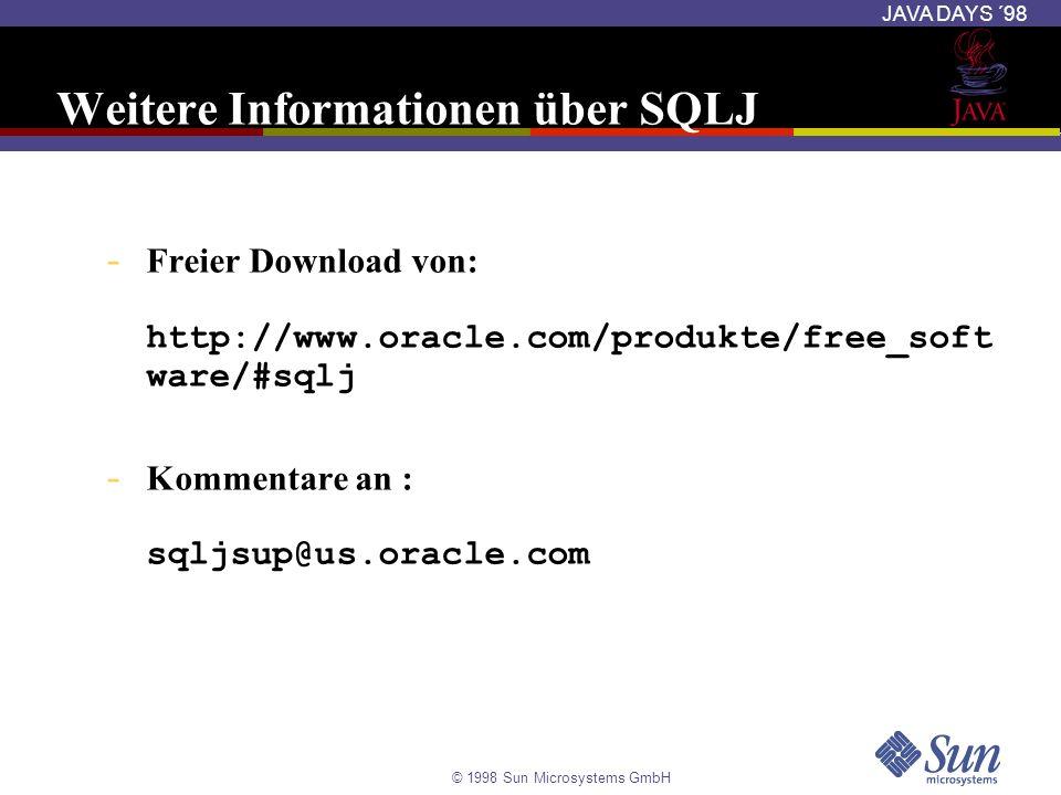 Weitere Informationen über SQLJ