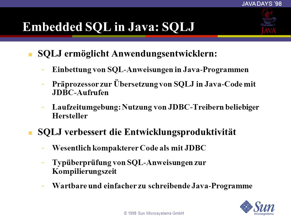 Embedded SQL in Java: SQLJ