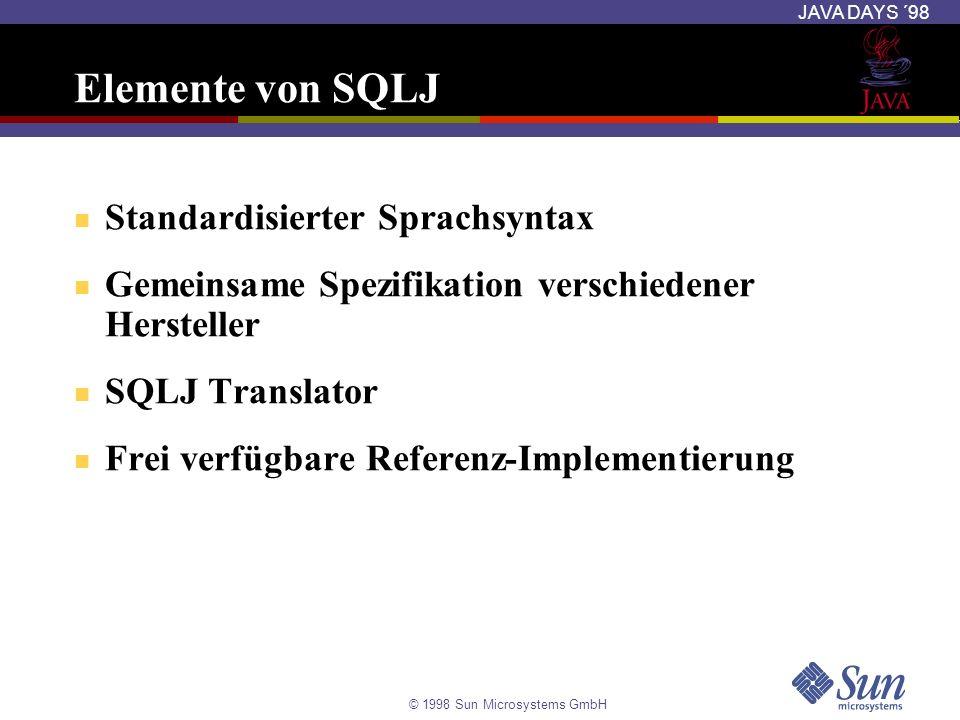 Elemente von SQLJ Standardisierter Sprachsyntax