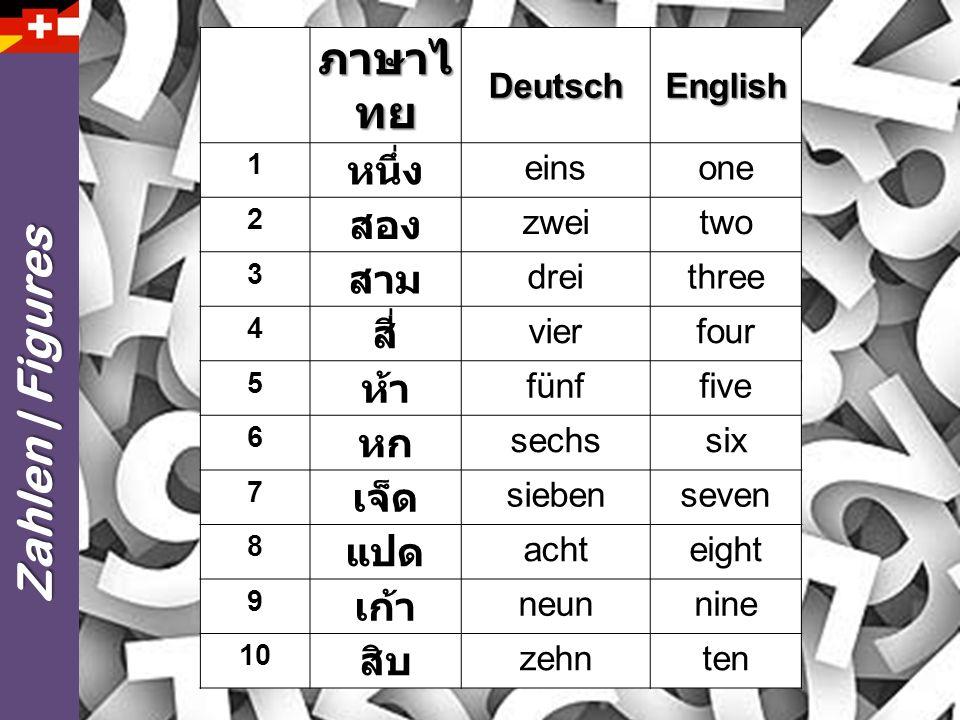 ภาษาไทย Zahlen | Figures หนึ่ง สอง สาม สี่ ห้า หก เจ็ด แปด เก้า สิบ