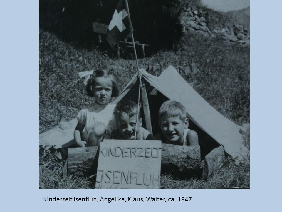 Kinderzelt Isenfluh, Angelika, Klaus, Walter, ca. 1947