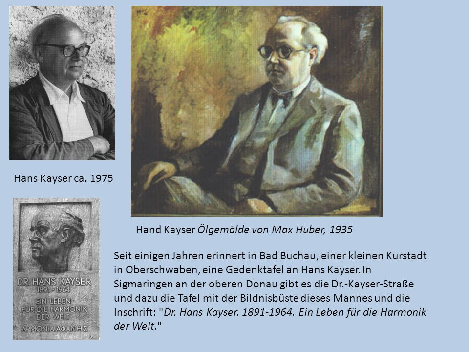 Hans Kayser ca. 1975 Hand Kayser Ölgemälde von Max Huber, 1935.