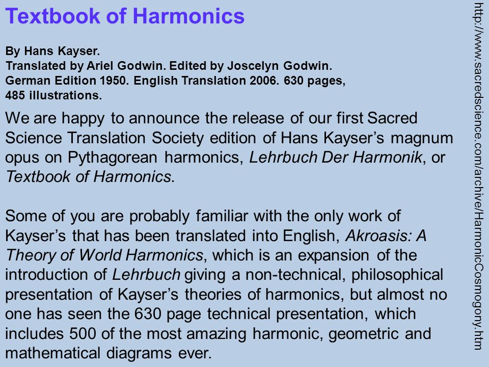 Textbook of Harmonics By Hans Kayser.