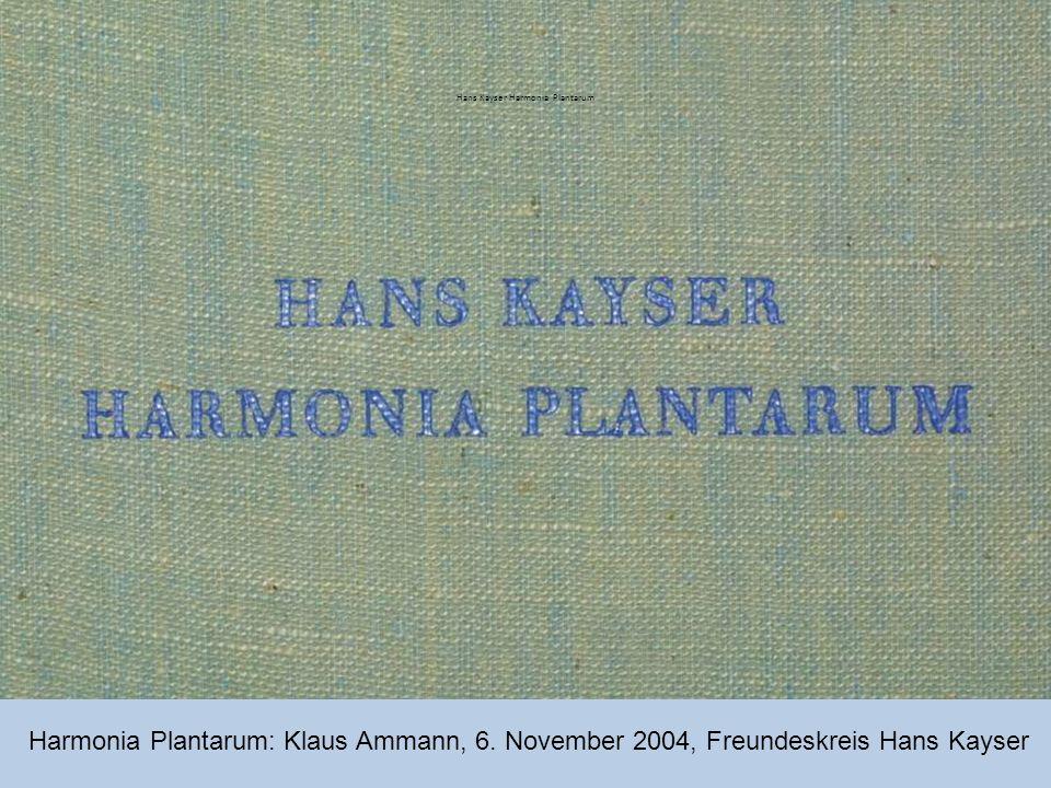 Hans Kayser Harmonia Plantarum