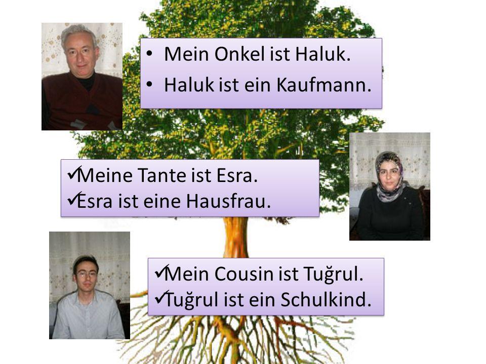 Mein Onkel ist Haluk. Haluk ist ein Kaufmann. Meine Tante ist Esra. Esra ist eine Hausfrau. Mein Cousin ist Tuğrul.