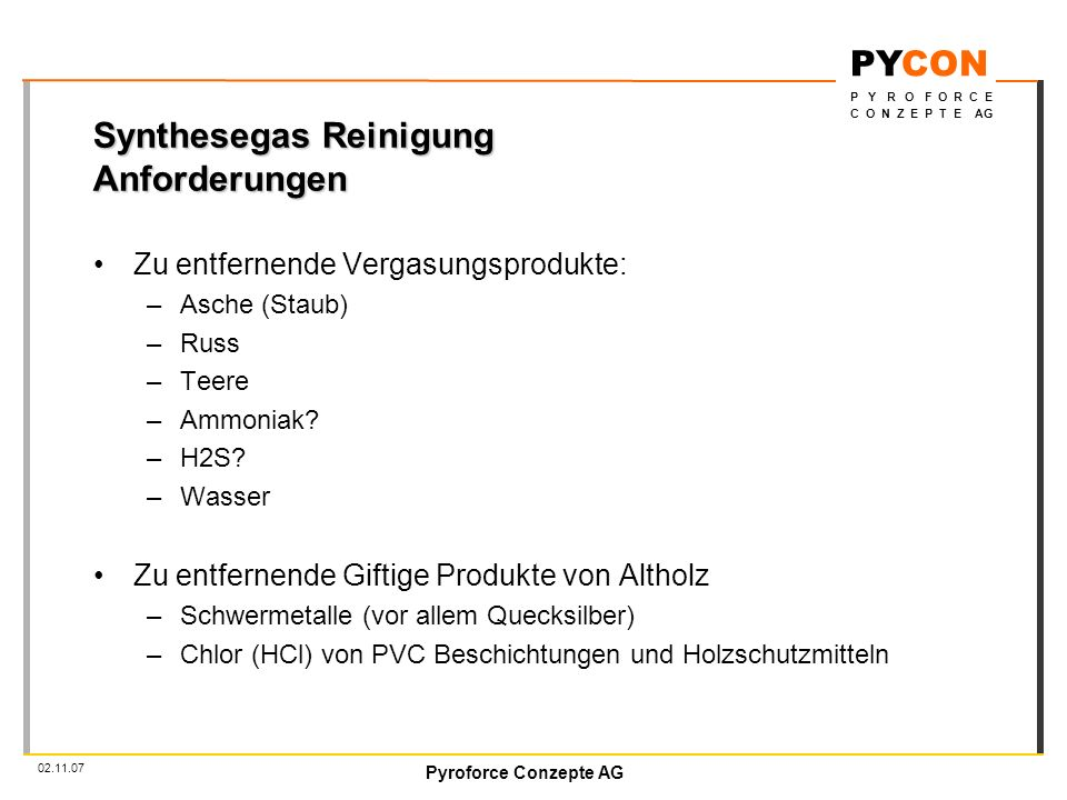 Synthesegas Reinigung Anforderungen