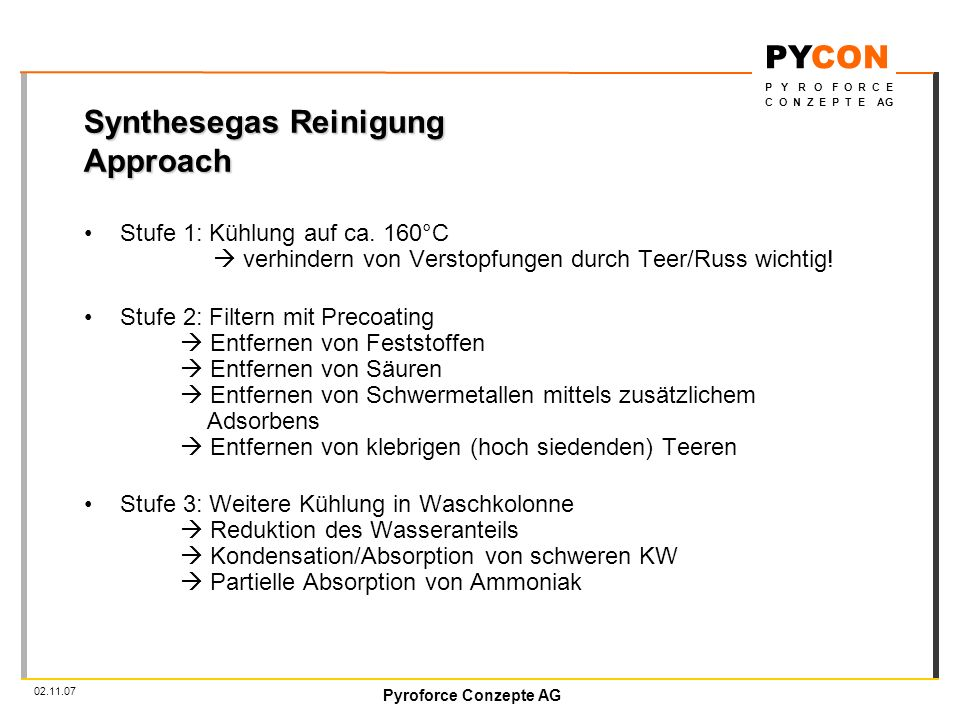 Synthesegas Reinigung Approach