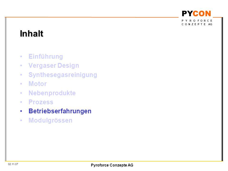Inhalt Einführung Vergaser Design Synthesegasreinigung Motor